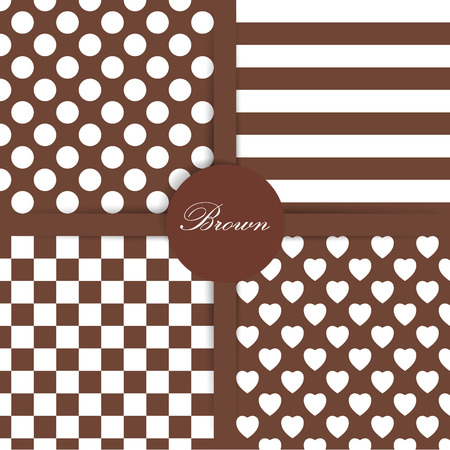 Set of four simply flat geometric patterns. Seamless brown background.  Vector