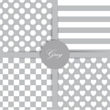Set of four simply flat geometric patterns. Seamless grey background.  Vector