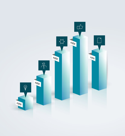 3D glass chart. Vector infographic figure. Illustration