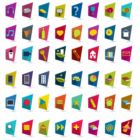 d data: Big collection of flat shadows icons.