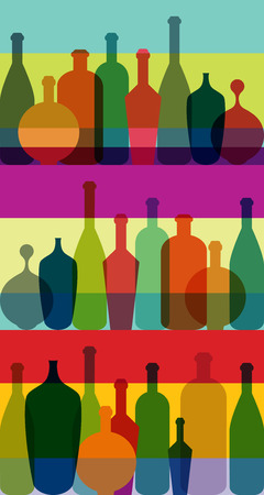 Wine bottle illustration. Vector.  Vector