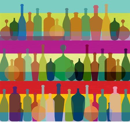 champagne bottle: Wine bottle illustration. Vector.  Illustration