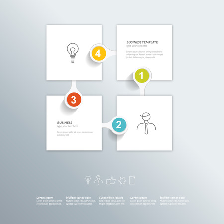 Step by step template. Business color vector. Infographic. Vector