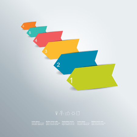 Colorful arrows diagram with text fields. Infographic vector. Vector
