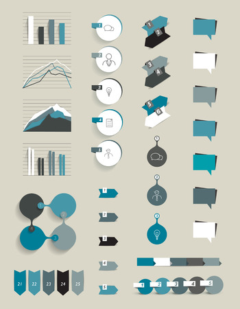 three points: Collection of infographics elements.