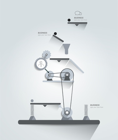 pulley: Moving working mechanism. Infographics diagram. Vector illustration.