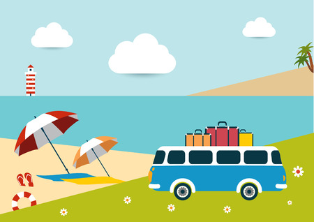exotic car: Summer illustrated background. Ocean scenery with retro bus.