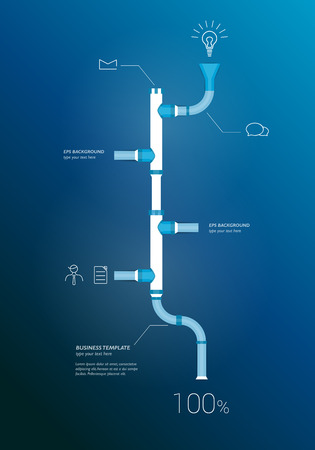 piping: Pipe timeline infographics chart. Vector illustration. Illustration