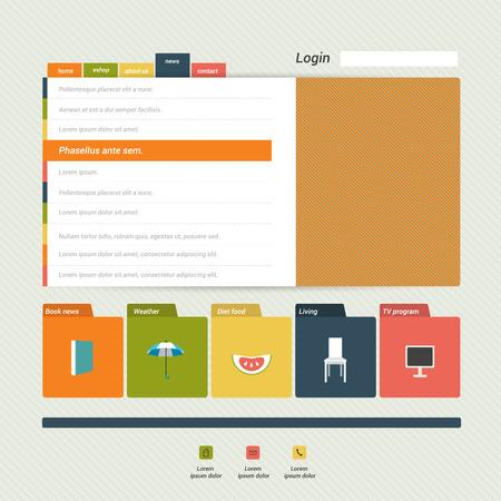 Flat web page, blog, portfolio. Vector background. Vektorové ilustrace