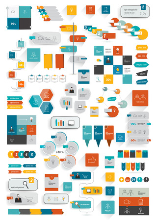 Collections of infographics flat design template. Illustration