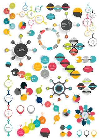 Collection of colorful round info graphics diagrams. Circle schemes.