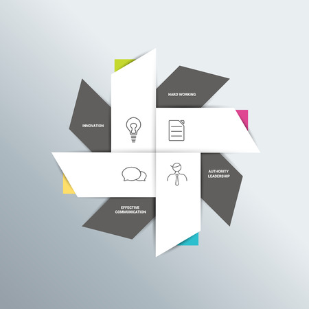Flat box diagram for infographics. Vector