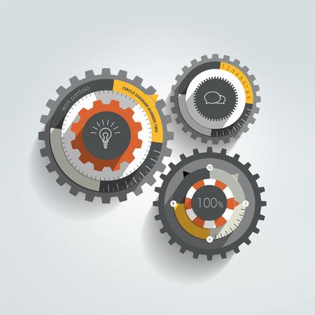 bussines: Cogwheel flat infographic diagram. Illustration