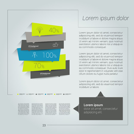 d data: Modern flat page layout with text and chart diagram. Illustration