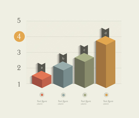 d data: Example of business 3D design graph. Infographics chart. Illustration