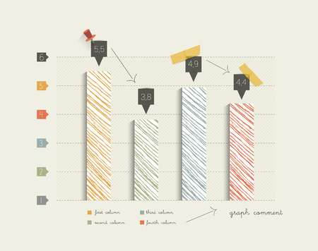column chart: Hand drawn flat column graph. Trend color minimalistic chart for print or web page infographic. Vector. Illustration