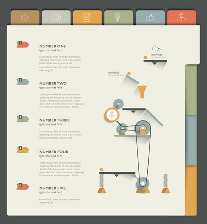 Sample print or web page. Infographics template. Vector