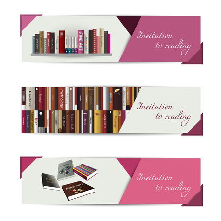 bookstore: A set of three modern vector banners.
