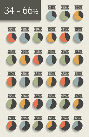 34: Collection of infographic percentage circle charts. 34% to 66%.