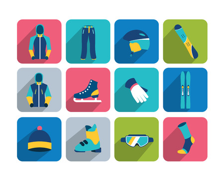 Winter sport and hiking flat icon collection. Vector