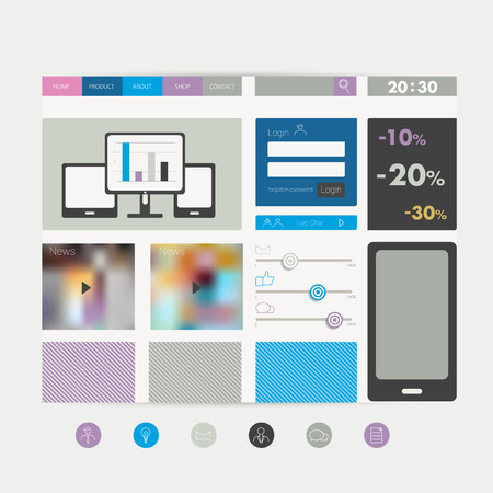 simply: Simply flat web page.  Illustration