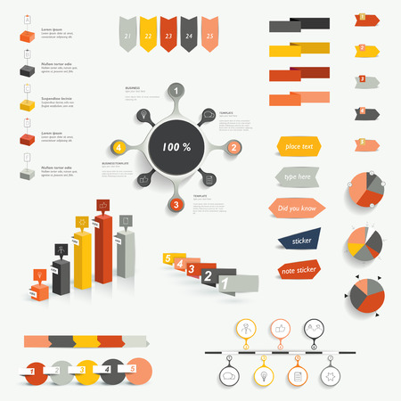 Set of infographic elements. Diagrams, speech bubbles, graphs, pie circle charts and icons. Vector