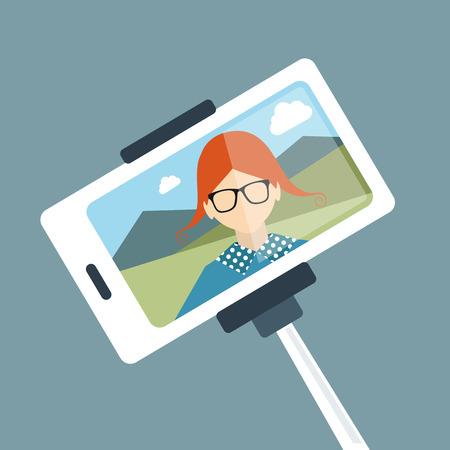 Selfie set photo illustration. Young girl making self portrait. Vector. Vector