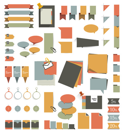 Collections of infographics flat design diagrams. Various color schemes, boxes, ribbons, speech bubbles for print or web design.