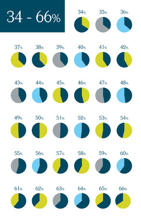 Collection of infographic percentage circle charts. 34% to 66%.  Vector