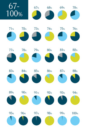 Collection of infographic percentage circle charts. 67% to 100%.  Vector