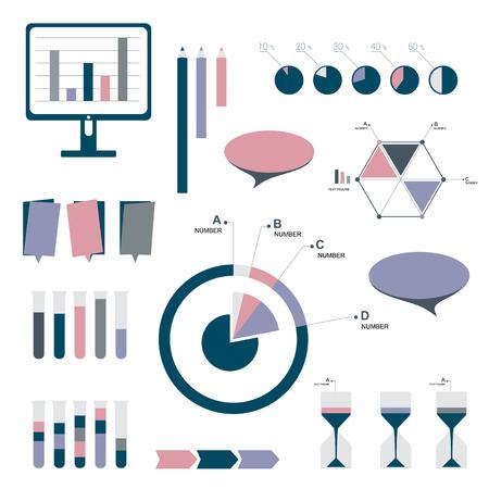 schematic diagram: Flat infographic set of charts, bubbles, diagrams. v