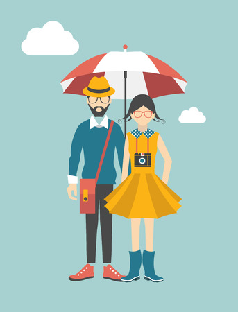 Hipster young couple concept.  Vector