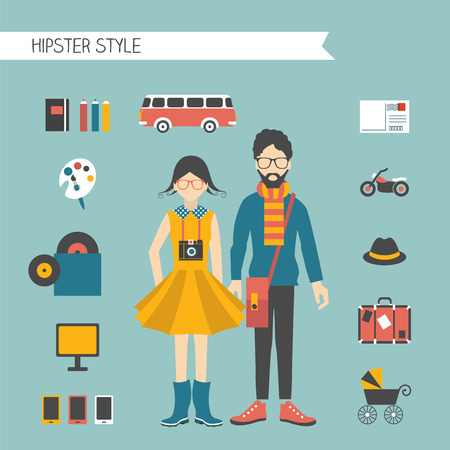 flat brush: Hipster couple style concept.