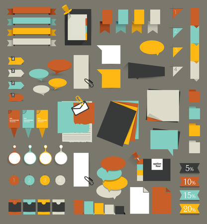 with sets of elements: Big set of flat reminder stickers. Infographic set. Illustration