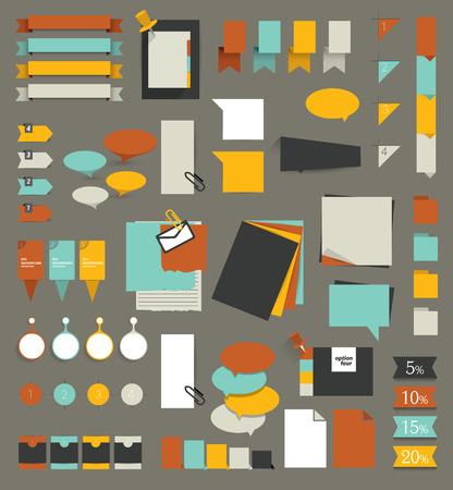 web elements: Big set of flat reminder stickers. Infographic set. Illustration
