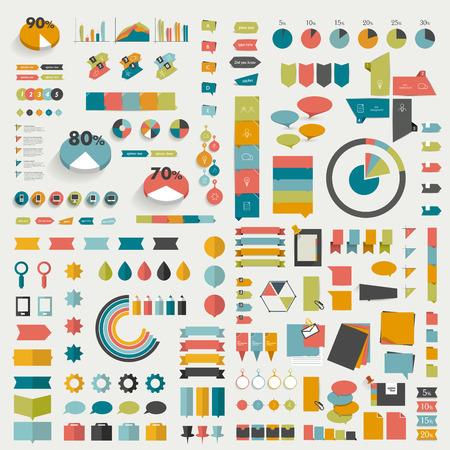 Las grandes colecciones de información gráficos diagramas de diseño de planos Foto de archivo - 32321501