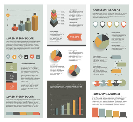 Big set of flat infographic elements. Layout template Illustration