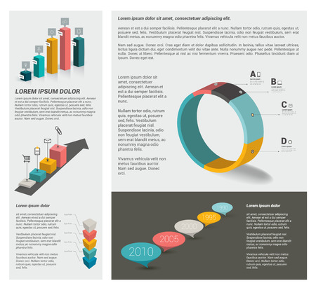 annual report: Big set of flat infographic elements. Layout template Illustration