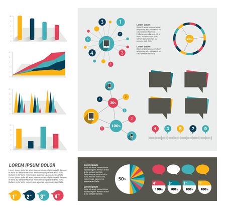 Big set of flat infographic elements. Layout template Vector