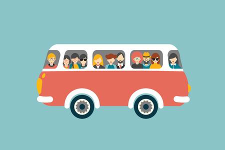 passenger buses: Retro bus con pasajeros. Vector concepto plana. Vectores