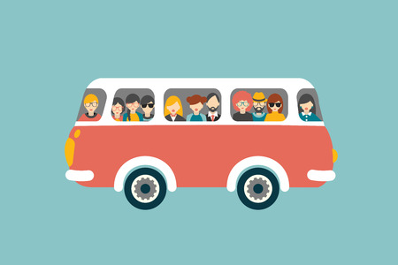 student travel: Retro bus with passengers. Flat vector concept.