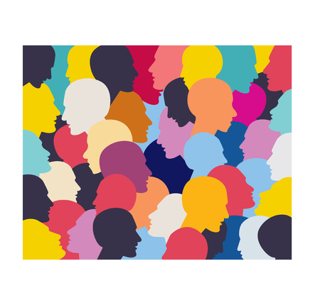 multicultural group: People profile heads background pattern.
