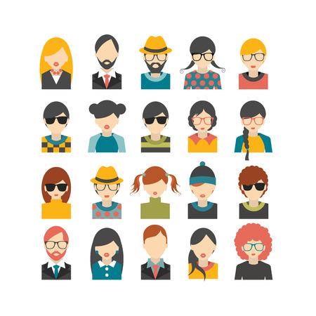 volti: Grande set di avatar Foto del profilo piatto icone illustrazione.