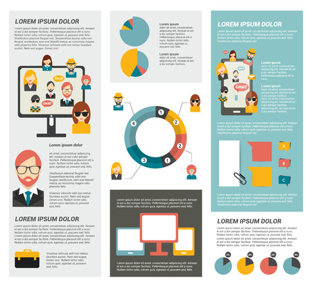 phone button: Social network infographic. Flat elements
