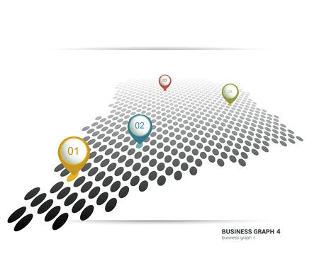 3 d: Business flat graph. Minimalistic chart