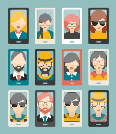 selfie: Selfie photo flat collection. Men, woman portrait. Vector. Illustration