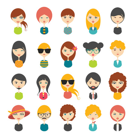 Big set of avatars profile pictures flat icons. Vector stylized illustration.