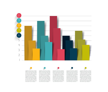 3 d illustrations: Example of business flat design graph. Infographics chart. Illustration