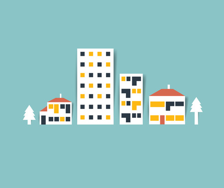 small town life: City street Illustration. Colored town silhouette.Flat vector design.
