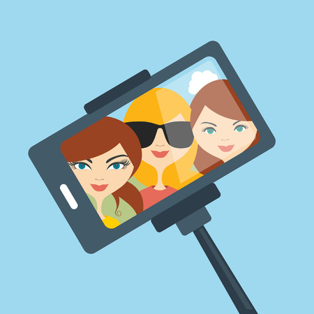 selfie: Selfie set photo illustration. Young girls making self portrait. Vector.